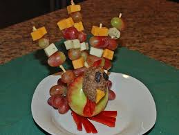 how to make fruit and cheese turkey tabletop decor