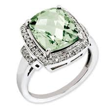 green gemstones rings images Cushion checkerboard cut green quartz diamond sterling silver ring jpg