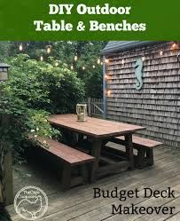 diy table u0026 benches budget deck makeover the cape coop