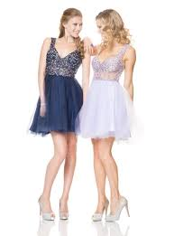 saprkly sleeveless crystal beaded short navy and lavender prom