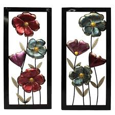 free shipping flowers garden flowers framed metal wall decor set of 2 free shipping