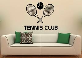 tennis club wall decal vinyl stickers racquet sport home zoom