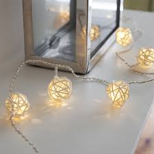 indoor wicker rattan ball fairy lights with 16 warm white leds by