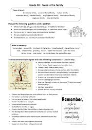 roles in the family idioms and conversation worksheet free esl