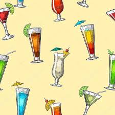 seamless pattern alcohol cocktail set vintage vector engraving