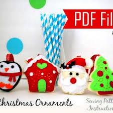 pdf diy ornament set of 4 felt ornaments sewing pattern