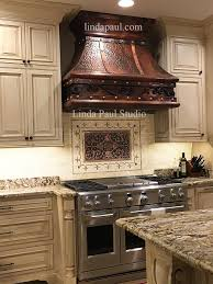 Backsplash For Kitchen With Granite Tiles Backsplash Ravenna Medallion Backsplash With Copper Hood