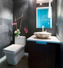 bathroom concrete and stone accentuate powder room idea