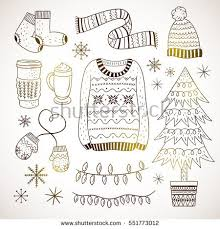 winter elements hand drawn illustrations cute stock vector