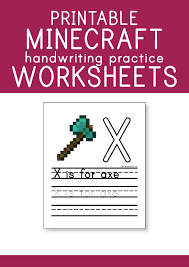 free printable minecraft handwriting practice worksheets u2013 pepper