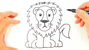 draw lion kids lion easy draw tutorial