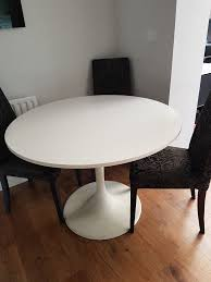 ikea docksta round white dining table u0026 6 next black and grey