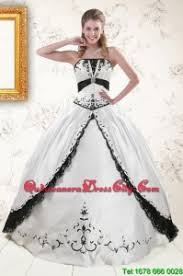 black and white quinceanera dresses 2015 exquisite embroidery quinceanera dresses in white and black