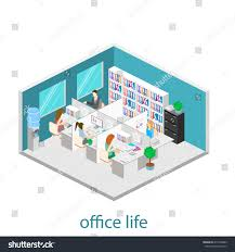 flat 3d isometric abstract office floor stock vector 417470089