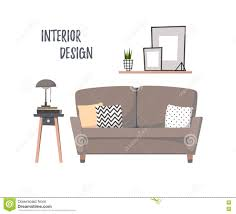 flat vector illustration home interior сozy living room with
