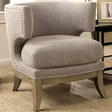 Nailhead Accent Chair Luxenberg Mid Century Modern Barrel Back Design Grey Accent Chair