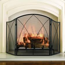 plain decoration arched fireplace screen black wrought iron single