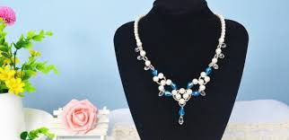 beaded necklace jewelry designs images Handmade white pearl jewelry design making blue beaded necklace jpg