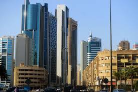old buildings contrasting with the new in downtown kuwait city
