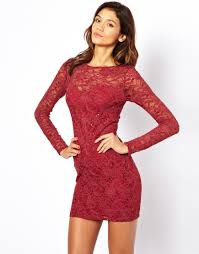 lipsy lipsy lace sequin dress in red lyst