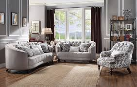 Down Feather Sofa Curved Light Gray Curved Tufted Sofa Set W Plush Feather Down Seating