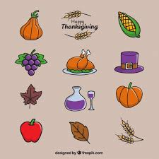 happy thanksgiving day with a selection of items vector free