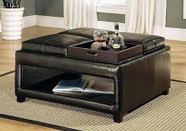 Leather Ottoman Cocktail Table Ottoman With Table Top Top Brown Leather Ottoman Coffee Tables