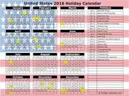 2016 calendar usa