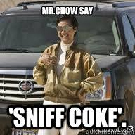 Mr Chow Memes - mr chow say sniff coke hangover chow quickmeme