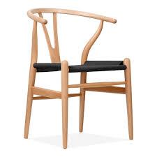 Danish Chairs Uk Hans Wegner Style Natural Wood Wishbone Chair With Black Seat Cult Uk