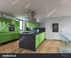 green kitchen kitchen island attic room stock photo 344529101