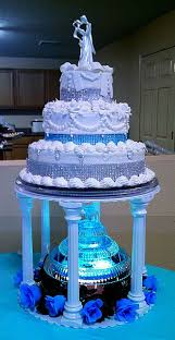 wedding cakes with fountains three tiered silver and teal aqua blue wedding cake with lighted