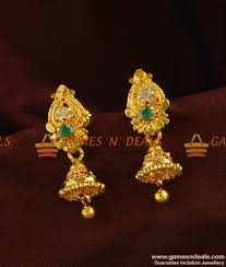 er313 south indian green jhumki trendy small design daily