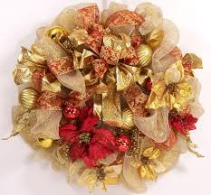 mesh christmas wreath ribbon holiday red gold wreath luxe large