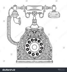 drawn phone vintage pencil and in color drawn phone vintage
