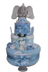 3 tier blue baby boy baby shower nappy cake gift with dumbo