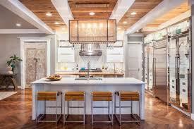 cuisine contemporaine ilot central design interieur modele cuisine contemporaine blanche bois parquet