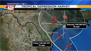 Weather Forecast San Antonio Texas October Harvey Becomes Tropical Depression Strengthening Expected