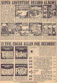 eerie magazine ads for vintage spoken word record and audio drama