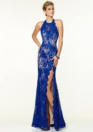 buy tailor made sheath halter neck floor length side slit red lace