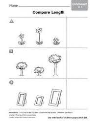 compare length enrichment 11 1 kindergarten 1st grade worksheet