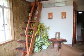 earth house emergency shelter aguipo stairs to the loft mezzanine sconces for candles shown as an option for designs