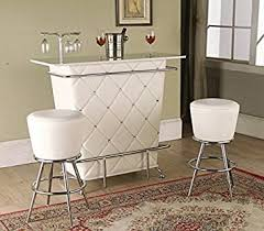 Acrylic Bar Table Tashara Collection White Tufted Vinyl Front Bar Table