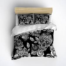 sugar skull bedding any color mega print with large detailed