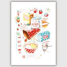 dessin recette de cuisine strawberry pie recipe poster bakery illustration cake print