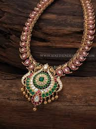 antique emerald necklace images Gold antique ruby emerald necklace with price details indian jpg