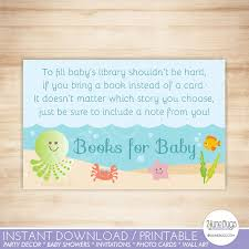 bring book instead of card to baby shower the sea baby shower book request bring a book instead of