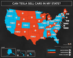 state map where can tesla legally sell cars directly to you state by state