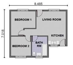 simple house with 2 bedrooms interior design