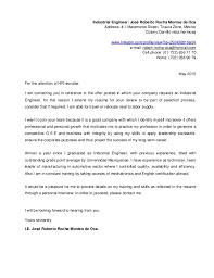 cover letter industrial engineering internship